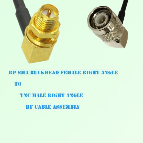 RP SMA Bulkhead Female R/A to TNC Male R/A RF Cable Assembly
