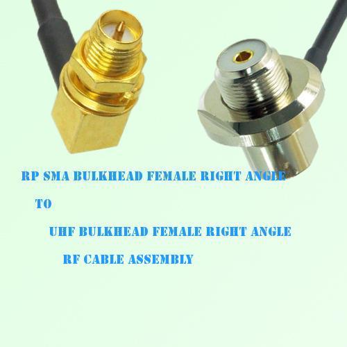 RP SMA Bulkhead Female R/A to UHF Bulkhead Female R/A RF Cable