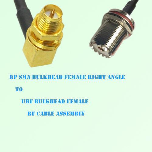 RP SMA Bulkhead Female R/A to UHF Bulkhead Female RF Cable Assembly