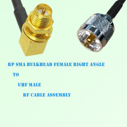 RP SMA Bulkhead Female Right Angle to UHF Male RF Cable Assembly
