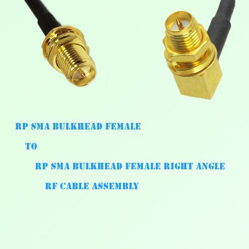 RP SMA Bulkhead Female to RP SMA Bulkhead Female R/A RF Cable Assembly