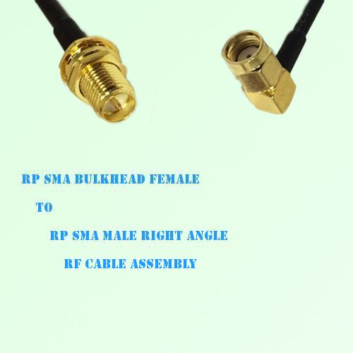 RP SMA Bulkhead Female to RP SMA Male Right Angle RF Cable Assembly