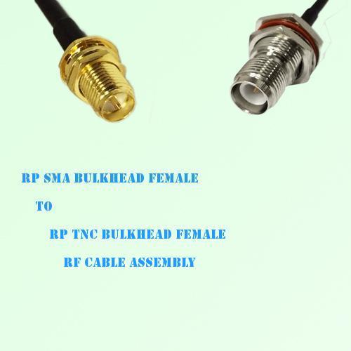 RP SMA Bulkhead Female to RP TNC Bulkhead Female RF Cable Assembly