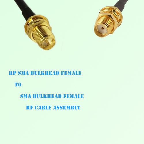 RP SMA Bulkhead Female to SMA Bulkhead Female RF Cable Assembly