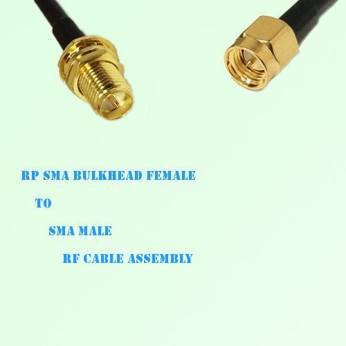 RP SMA Bulkhead Female to SMA Male RF Cable Assembly