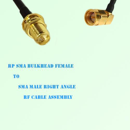 RP SMA Bulkhead Female to SMA Male Right Angle RF Cable Assembly