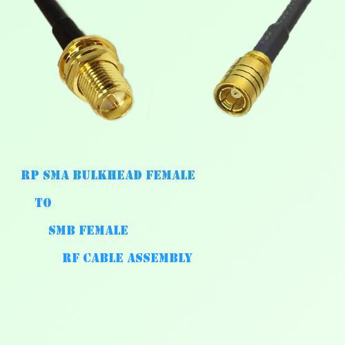 RP SMA Bulkhead Female to SMB Female RF Cable Assembly