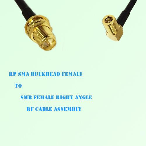 RP SMA Bulkhead Female to SMB Female Right Angle RF Cable Assembly