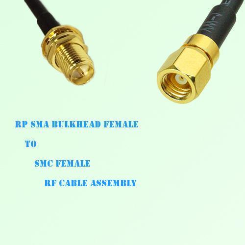 RP SMA Bulkhead Female to SMC Female RF Cable Assembly