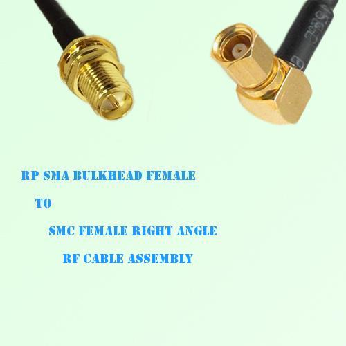 RP SMA Bulkhead Female to SMC Female Right Angle RF Cable Assembly