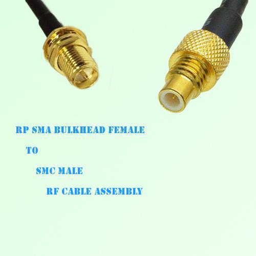 RP SMA Bulkhead Female to SMC Male RF Cable Assembly
