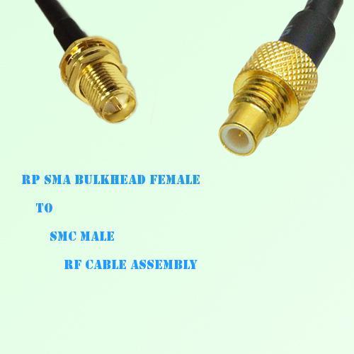 RP SMA Bulkhead Female to SMC Male RF Cable Assembly