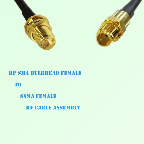 RP SMA Bulkhead Female to SSMA Female RF Cable Assembly