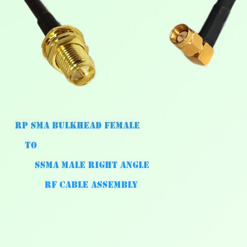 RP SMA Bulkhead Female to SSMA Male Right Angle RF Cable Assembly