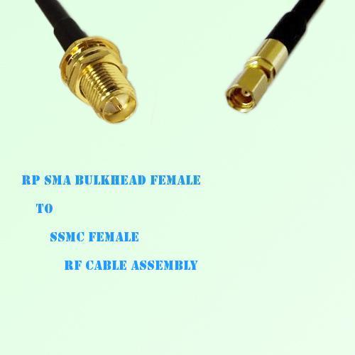 RP SMA Bulkhead Female to SSMC Female RF Cable Assembly