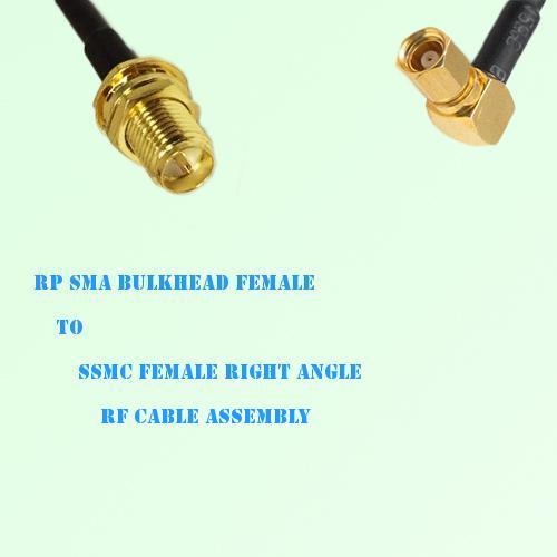 RP SMA Bulkhead Female to SSMC Female Right Angle RF Cable Assembly