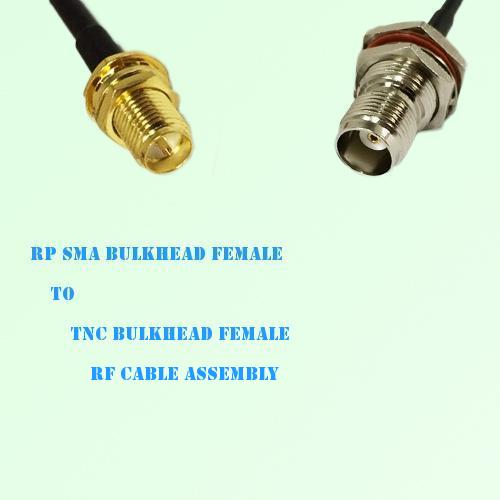 RP SMA Bulkhead Female to TNC Bulkhead Female RF Cable Assembly