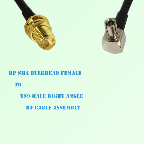 RP SMA Bulkhead Female to TS9 Male Right Angle RF Cable Assembly