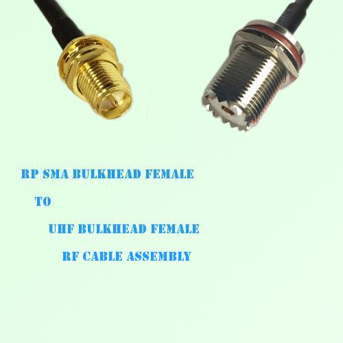 RP SMA Bulkhead Female to UHF Bulkhead Female RF Cable Assembly