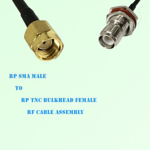 RP SMA Male to RP TNC Bulkhead Female RF Cable Assembly