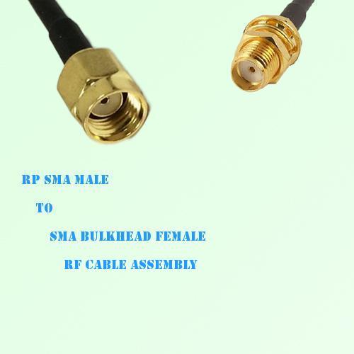 RP SMA Male to SMA Bulkhead Female RF Cable Assembly