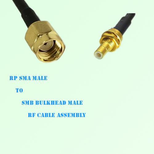 RP SMA Male to SMB Bulkhead Male RF Cable Assembly