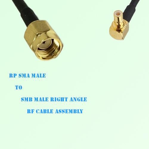 RP SMA Male to SMB Male Right Angle RF Cable Assembly