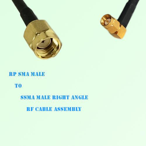 RP SMA Male to SSMA Male Right Angle RF Cable Assembly