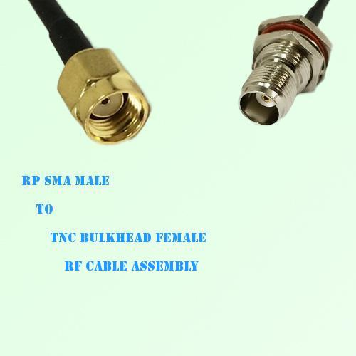 RP SMA Male to TNC Bulkhead Female RF Cable Assembly