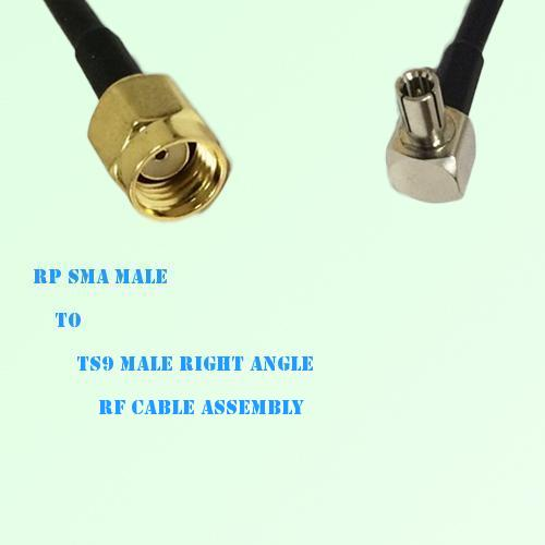 RP SMA Male to TS9 Male Right Angle RF Cable Assembly