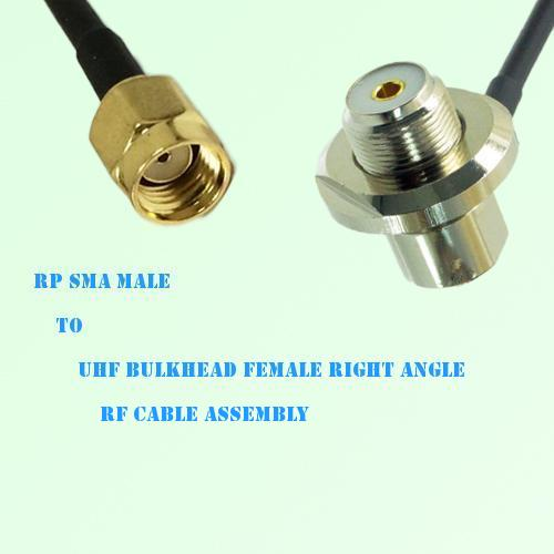 RP SMA Male to UHF Bulkhead Female Right Angle RF Cable Assembly