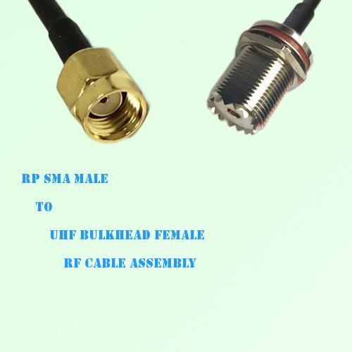RP SMA Male to UHF Bulkhead Female RF Cable Assembly