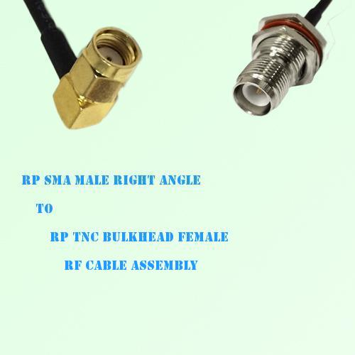 RP SMA Male Right Angle to RP TNC Bulkhead Female RF Cable Assembly