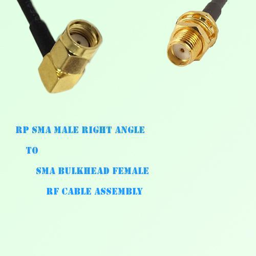 RP SMA Male Right Angle to SMA Bulkhead Female RF Cable Assembly