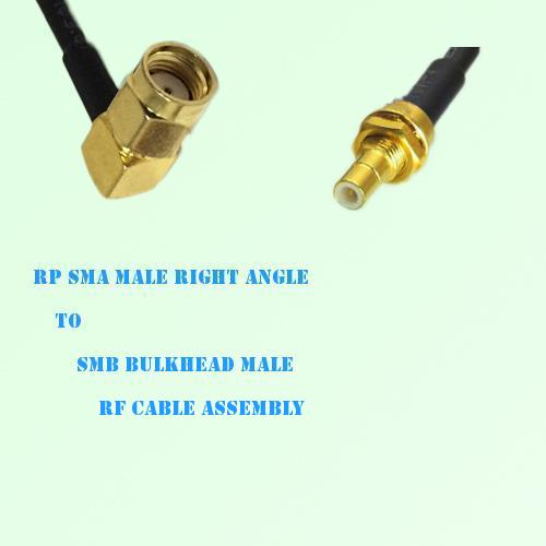 RP SMA Male Right Angle to SMB Bulkhead Male RF Cable Assembly