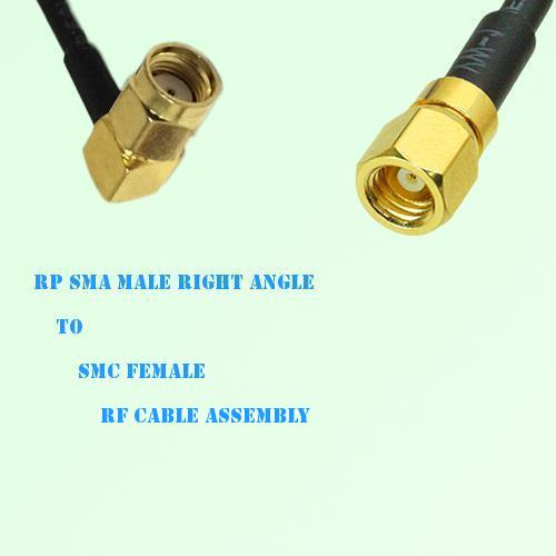 RP SMA Male Right Angle to SMC Female RF Cable Assembly