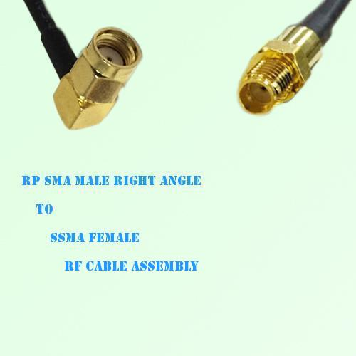 RP SMA Male Right Angle to SSMA Female RF Cable Assembly