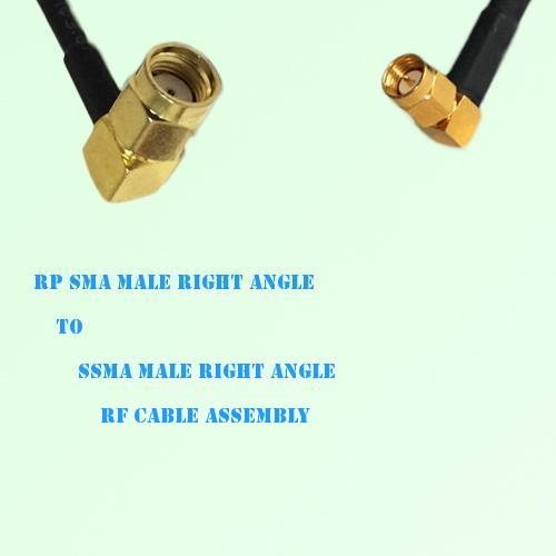 RP SMA Male Right Angle to SSMA Male Right Angle RF Cable Assembly