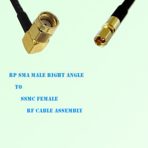 RP SMA Male Right Angle to SSMC Female RF Cable Assembly