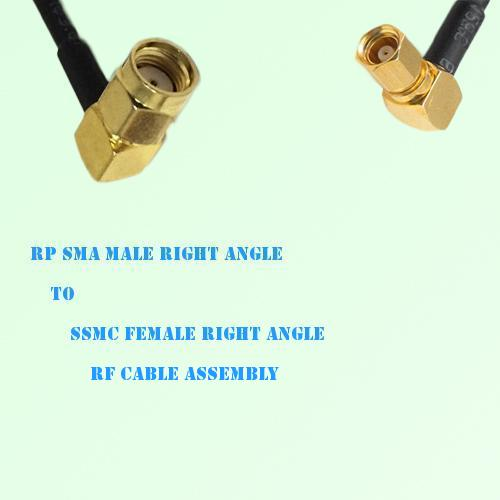 RP SMA Male Right Angle to SSMC Female Right Angle RF Cable Assembly