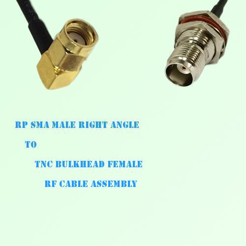 RP SMA Male Right Angle to TNC Bulkhead Female RF Cable Assembly