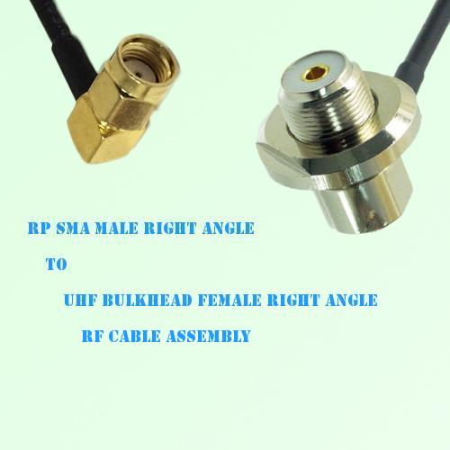 RP SMA Male R/A to UHF Bulkhead Female R/A RF Cable Assembly