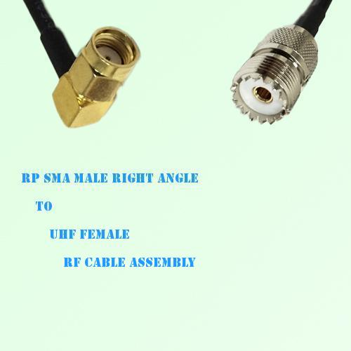 RP SMA Male Right Angle to UHF Female RF Cable Assembly