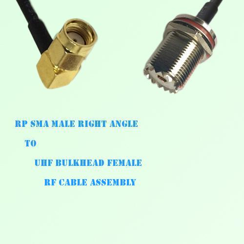 RP SMA Male Right Angle to UHF Bulkhead Female RF Cable Assembly