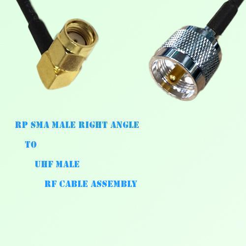 RP SMA Male Right Angle to UHF Male RF Cable Assembly