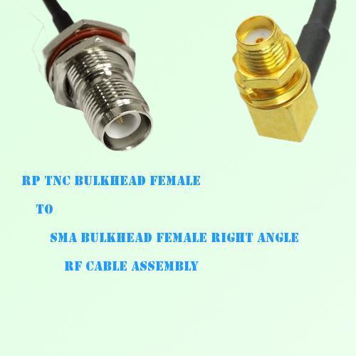 RP TNC Bulkhead Female to SMA Bulkhead Female R/A RF Cable Assembly