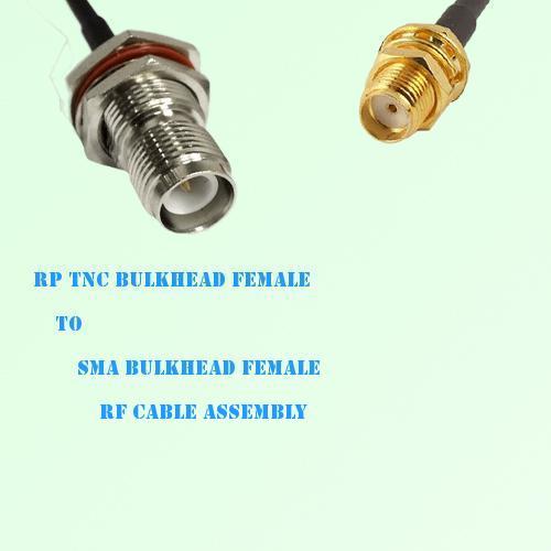 RP TNC Bulkhead Female to SMA Bulkhead Female RF Cable Assembly