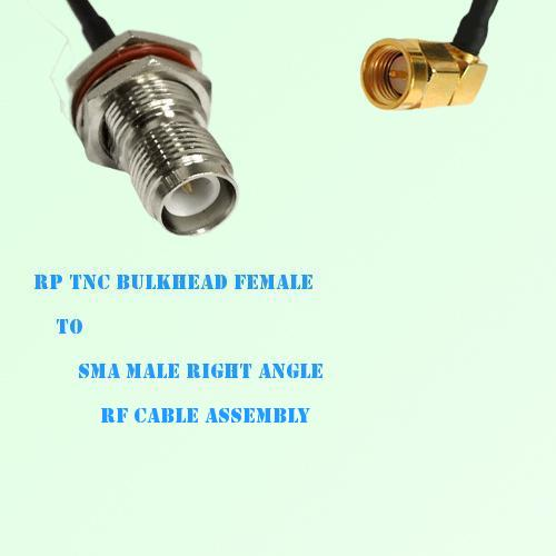 RP TNC Bulkhead Female to SMA Male Right Angle RF Cable Assembly