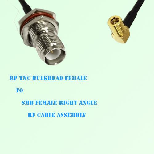 RP TNC Bulkhead Female to SMB Female Right Angle RF Cable Assembly