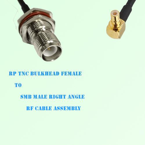 RP TNC Bulkhead Female to SMB Male Right Angle RF Cable Assembly